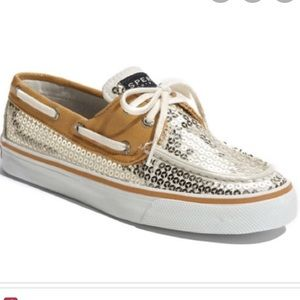 Sperry Top Sider gold sequin boat shoes